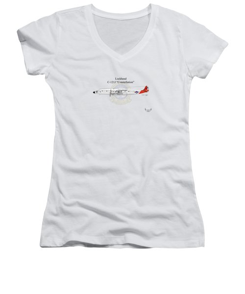Lockheed C-121j Constellation Women's V-Neck T-Shirt (Junior Cut) by Arthur Eggers