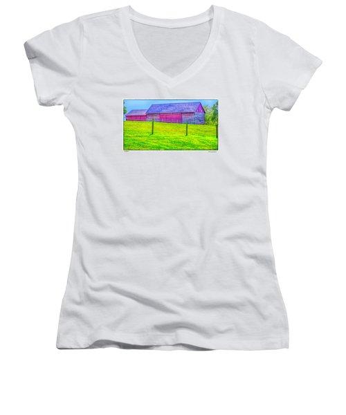 Women's V-Neck T-Shirt (Junior Cut) featuring the photograph Log Barn by R Thomas Berner