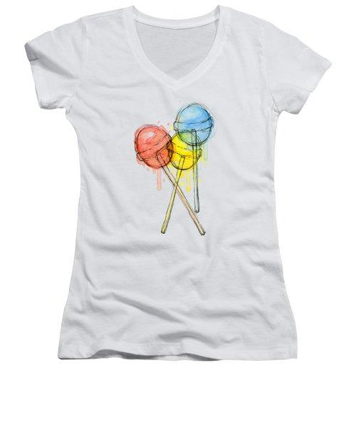 Lollipop Candy Watercolor Women's V-Neck (Athletic Fit)
