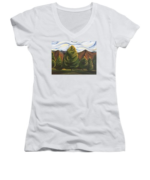 Lollipop Trees Women's V-Neck T-Shirt (Junior Cut) by Pat Purdy