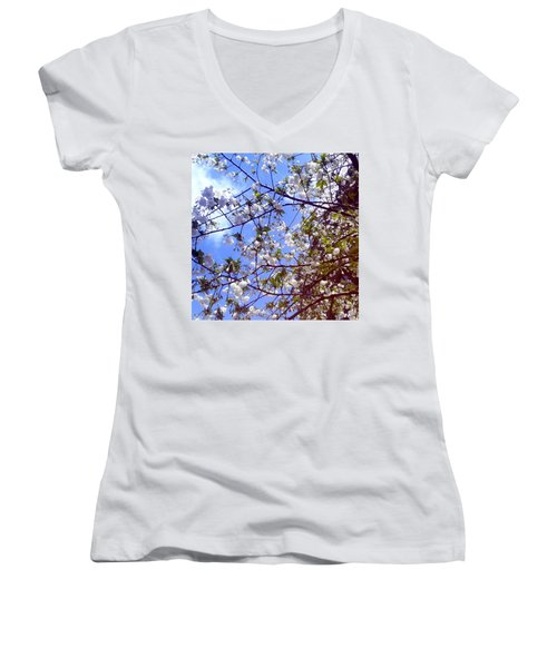 Women's V-Neck T-Shirt (Junior Cut) featuring the photograph Lomography Spring Berlin by Art Photography