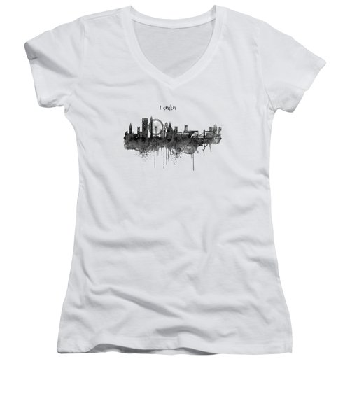 London Black And White Skyline Watercolor Women's V-Neck T-Shirt (Junior Cut) by Marian Voicu