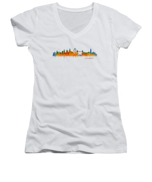 London City Skyline Hq V2 Women's V-Neck T-Shirt (Junior Cut) by HQ Photo
