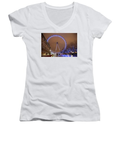 Women's V-Neck T-Shirt (Junior Cut) featuring the photograph Big Wheel by David Chandler
