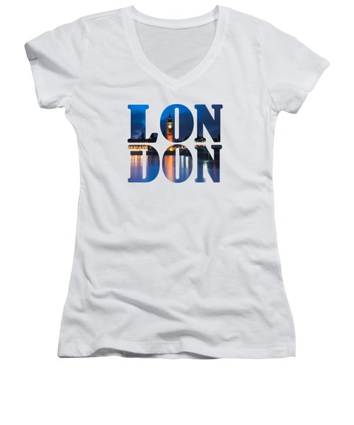 London Letters Women's V-Neck T-Shirt (Junior Cut) by Matt Malloy