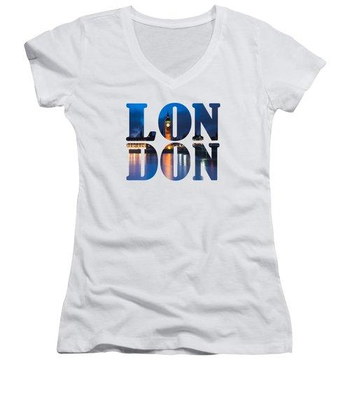 London Letters Women's V-Neck T-Shirt