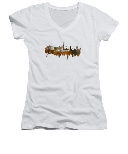 London Skyline City Brown Women's V-Neck T-Shirt (Junior Cut) by Justyna JBJart