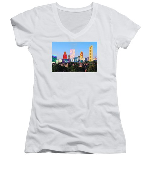 London Skyline Collage 1 Women's V-Neck