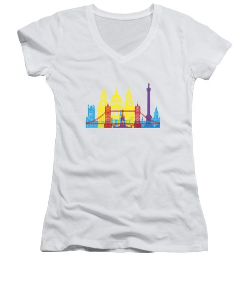 London Skyline Pop Women's V-Neck T-Shirt