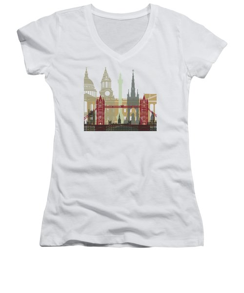 London Skyline Poster Women's V-Neck T-Shirt (Junior Cut) by Pablo Romero