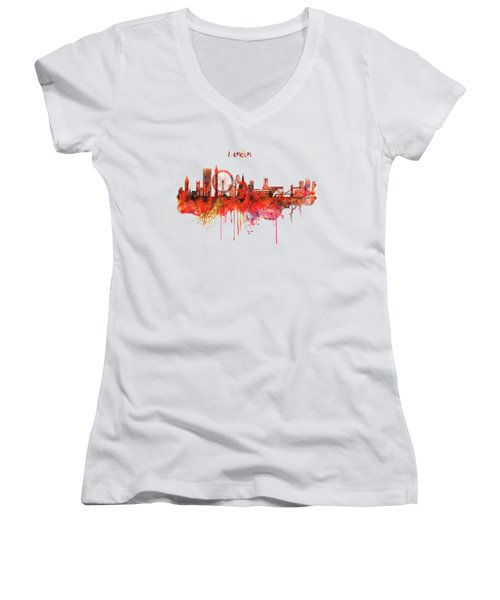 London Skyline Watercolor Women's V-Neck T-Shirt (Junior Cut) by Marian Voicu