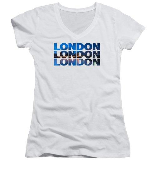 London Text Women's V-Neck T-Shirt (Junior Cut) by Matt Malloy