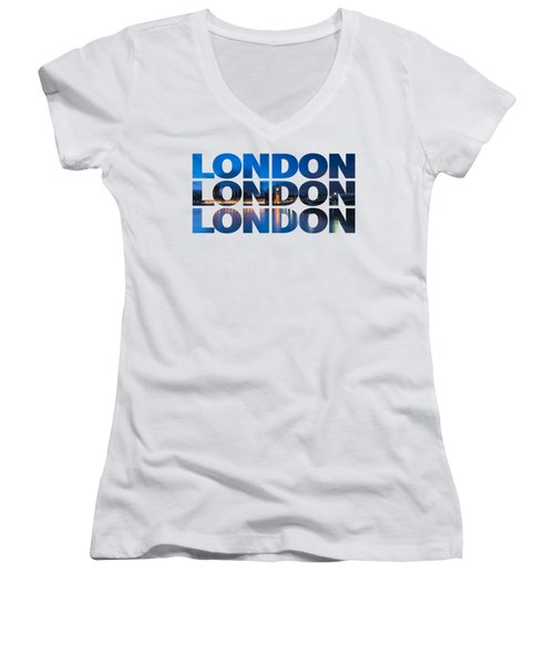 London Text Women's V-Neck (Athletic Fit)