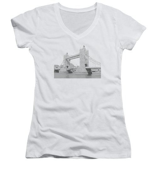 London Tower Bridge - Cross Hatching Women's V-Neck T-Shirt