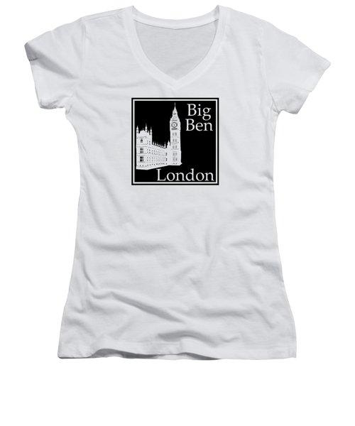 London's Big Ben In Black Women's V-Neck T-Shirt (Junior Cut) by Custom Home Fashions