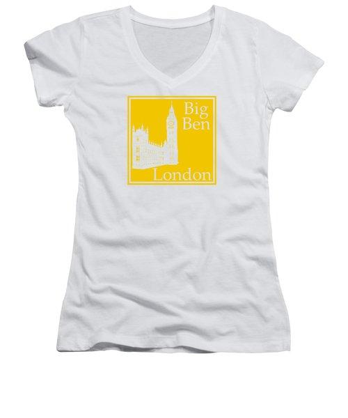 London's Big Ben In Mustard Yellow Women's V-Neck T-Shirt (Junior Cut) by Custom Home Fashions