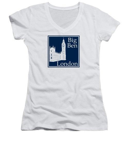 London's Big Ben In Oxford Blue Women's V-Neck T-Shirt (Junior Cut) by Custom Home Fashions