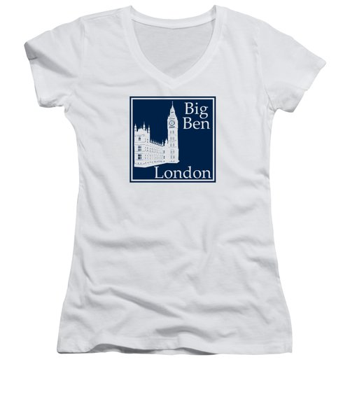 London's Big Ben In Oxford Blue Women's V-Neck T-Shirt