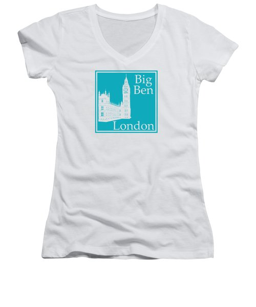 London's Big Ben In Robin's Egg Blue Women's V-Neck T-Shirt