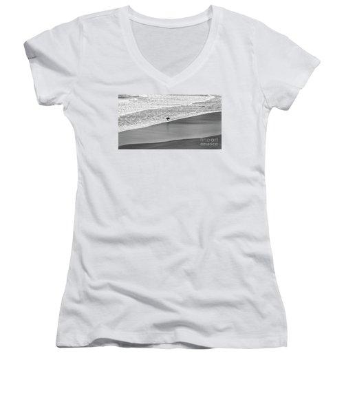 Lone Surfer Women's V-Neck T-Shirt (Junior Cut) by Nicholas Burningham