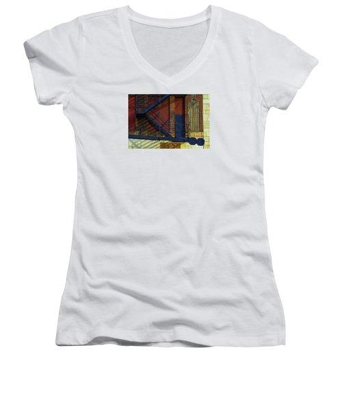 Lonely Days Parking Garage V2 Women's V-Neck T-Shirt (Junior Cut) by Raymond Kunst