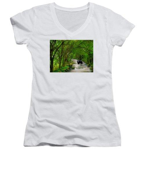 Lonely Hunter Women's V-Neck T-Shirt (Junior Cut) by Steven Richardson