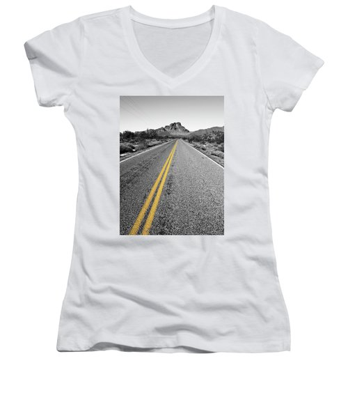 Lonely Road Women's V-Neck (Athletic Fit)