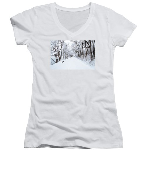 Lonely Snowy Road Women's V-Neck T-Shirt