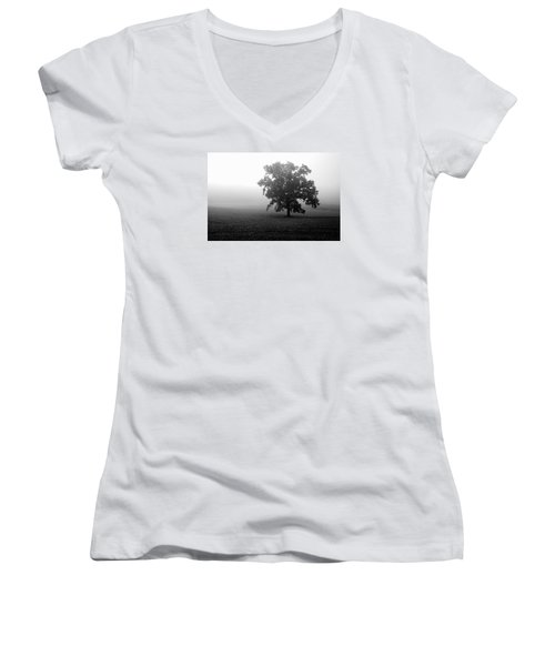 Lonely Tree Women's V-Neck T-Shirt (Junior Cut) by Deborah Scannell