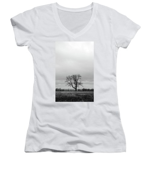 Lonely Tree In A Spring Field Women's V-Neck T-Shirt (Junior Cut) by GoodMood Art