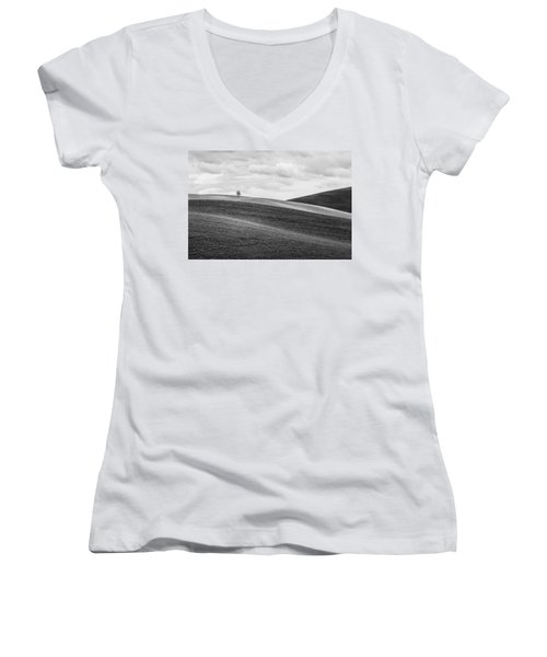 Lonesome Women's V-Neck T-Shirt (Junior Cut) by Ryan Manuel