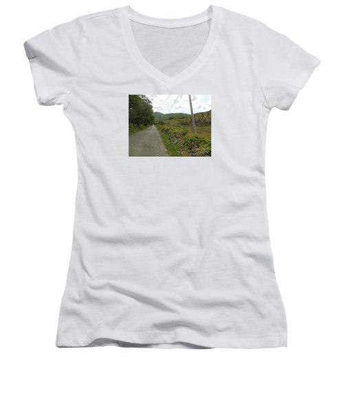 Long Road Into Colombier Women's V-Neck T-Shirt (Junior Cut) by Margaret Brooks