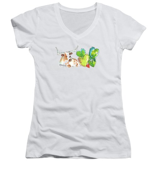 Longhorn And Valentine Cactus Women's V-Neck (Athletic Fit)
