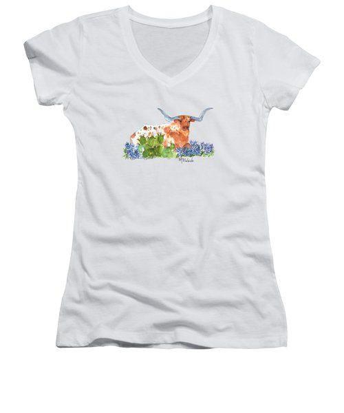 Longhorn In The Cactus And Bluebonnets Lh014 Kathleen Mcelwaine Women's V-Neck T-Shirt (Junior Cut) by Kathleen McElwaine
