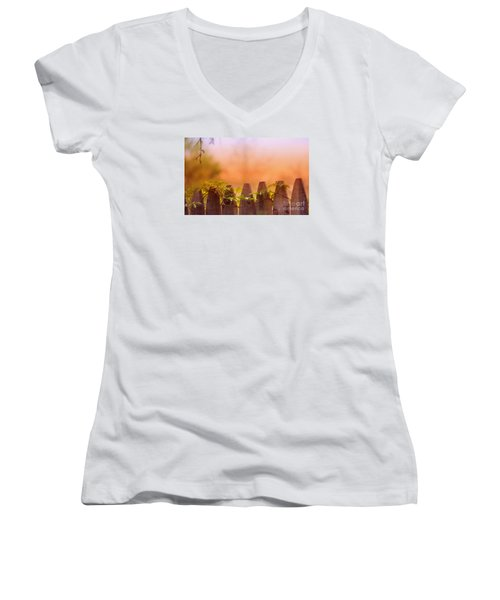 Women's V-Neck T-Shirt (Junior Cut) featuring the photograph Look Beyond The Boundary by Rima Biswas