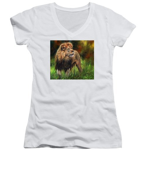 Women's V-Neck T-Shirt (Junior Cut) featuring the painting Look Of The Lion by David Stribbling