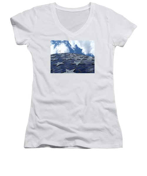 Lookig Up At The Stars And Blue Sky Women's V-Neck T-Shirt (Junior Cut) by Erick Schmidt