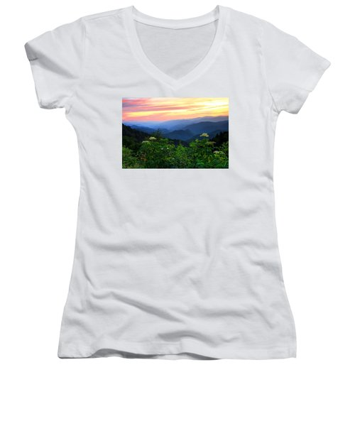 Looking Out Over Woolyback On The Blue Ridge Parkway  Women's V-Neck