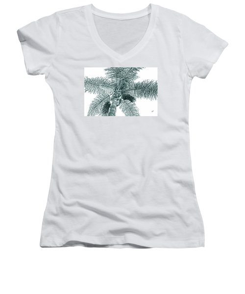 Women's V-Neck T-Shirt (Junior Cut) featuring the photograph Looking Up At Palm Tree Green by Ben and Raisa Gertsberg