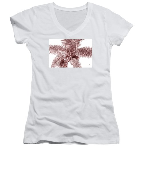 Women's V-Neck T-Shirt (Junior Cut) featuring the photograph Looking Up At Palm Tree Red by Ben and Raisa Gertsberg