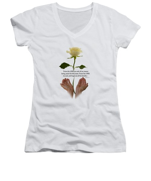Lord, O My Soul Women's V-Neck T-Shirt (Junior Cut) by Ann Lauwers