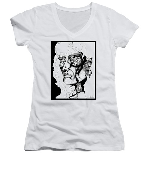 Women's V-Neck T-Shirt (Junior Cut) featuring the drawing Lord Of The Flies Study by Curtiss Shaffer