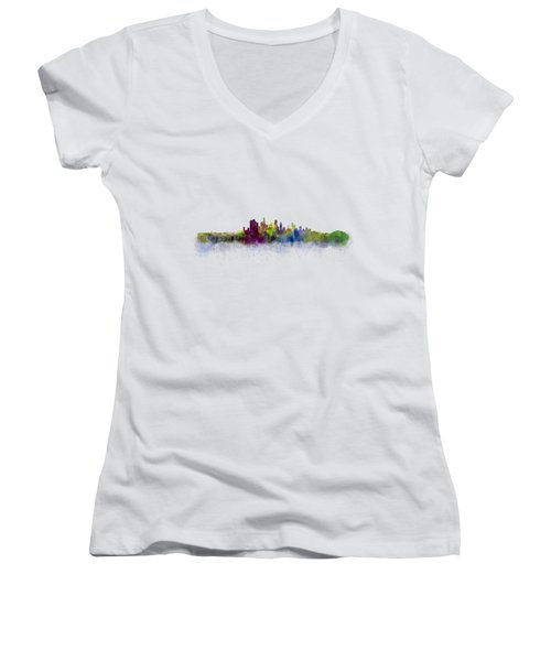 Los Angeles City Skyline Hq V3 Women's V-Neck T-Shirt (Junior Cut) by HQ Photo