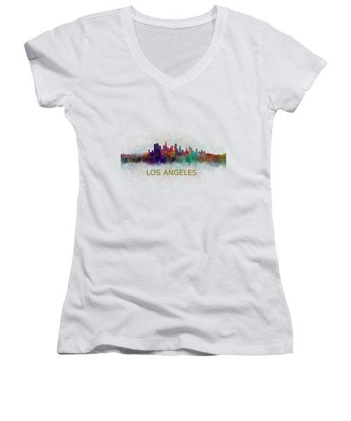 Los Angeles City Skyline Hq V4 Women's V-Neck T-Shirt (Junior Cut) by HQ Photo