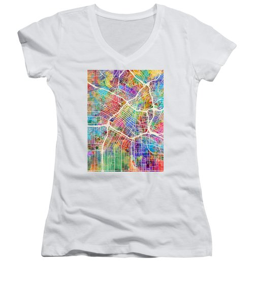 Los Angeles City Street Map Women's V-Neck (Athletic Fit)