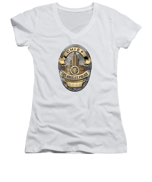 Los Angeles Police Department  -  L A P D  Chief Badge Over White Leather Women's V-Neck T-Shirt (Junior Cut) by Serge Averbukh