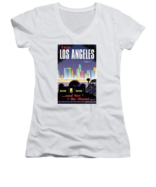 Los Angeles Retro Travel Poster Women's V-Neck T-Shirt (Junior Cut) by Jim Zahniser
