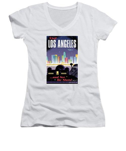 Los Angeles Retro Travel Poster Women's V-Neck T-Shirt (Junior Cut) by Jim Zahniser