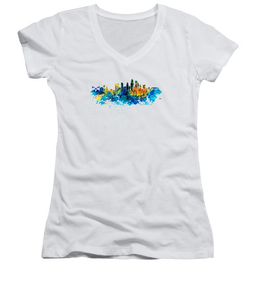 Los Angeles Skyline Women's V-Neck T-Shirt (Junior Cut) by Marian Voicu