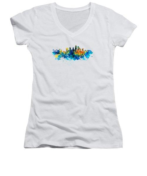 Los Angeles Skyline Women's V-Neck T-Shirt (Junior Cut)